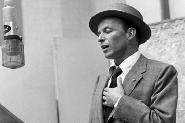 Frank Sinatra in front of microphone